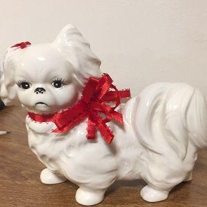 AUGUST SALE Vintage white puppy ornament decor